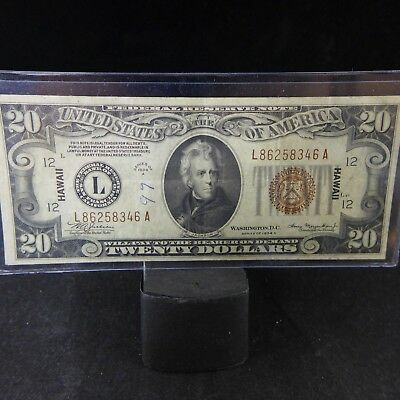 1934 A $20 DOLLAR WWII HAWAII BROWN SEAL FEDERAL RESERVE NOTE VF Ink/Rust Stains