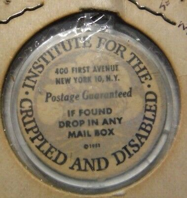 Vintage New York City Institute For Crippled & Disabled If Found Key Fob Token