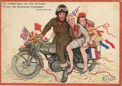 soldier wit 2 girls on motorcycle  old Dutch artist signed larger postcard 1946