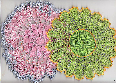 """2 VINTAGE   color  CROCHET DOILIES  PINK & GREEN  7"""" & 9"""" ROUND"""