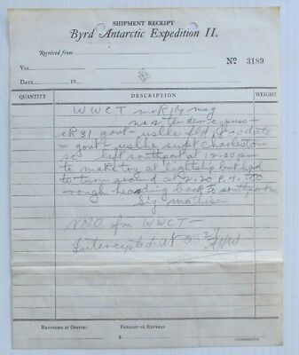 C.1930's Shipment Receipt, Letter Byrd Antarctic Expedition Ii