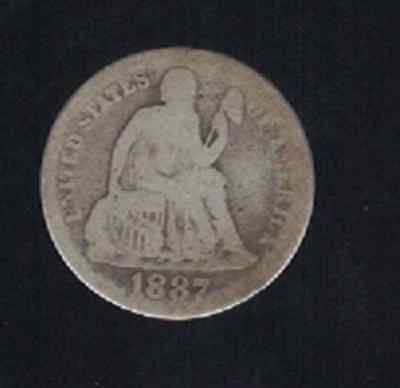 Us Usa 1887 Liberty Seated Dime Ag Antique Old Vintage Silver Coin *