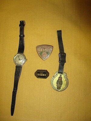 Antique Hamilton Wristwatch, 1915 & 1923 New York Chauffeurs Badges, Rex Fob