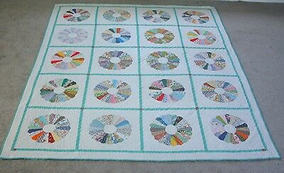 """Vintage 1940's Hand Appliqued Hand Quilted Dresden Plate Quilt 76"""" by 94"""""""