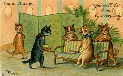 Louis Wain - Fortune Telling - You Will Be Loved - Artist Drawn Postcard