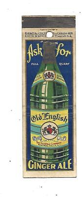 Old English Ginger Ale  Matchcover  The Kerona Co.  Central Falls, R.I.