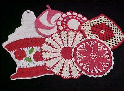 6 Vintage Antique Hand Crocheted Potholder Shabby 1940s Chic Cherry RED LOT