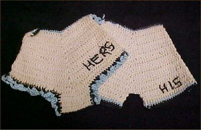 2 Vintage Antique Hand Crocheted Potholder 1940s WWII Era His & Hers Pant Pantie