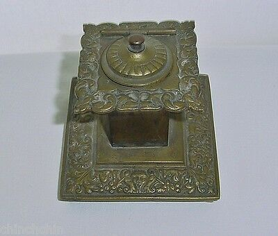 ANTIQUE Signed BRONZE INKWELL Late 1800s FACE Fruit ITALIAN RENAISSANCE Style