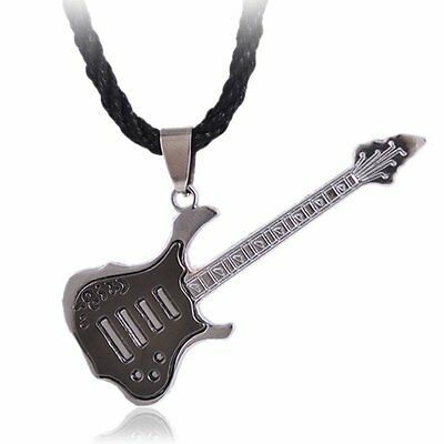Hot Punk Rock Guitar Pendant Necklace Chain Stainless Steel Christmas Jewelry