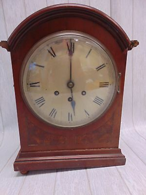 Antique GUSTAV BECKER/ MEDAILLE D'OR Inlaid Mahogany Arch Top Mantel Clock - E26