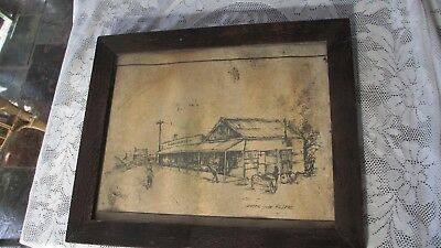 Vintage very old Silky Oak picture frame with glass & old Hill End picture
