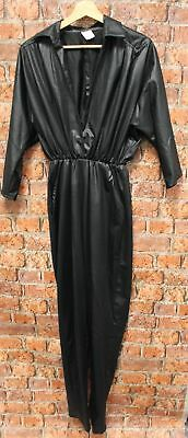 Vintage Black Shiny 80's Collared Jumpsuit Size UK 8 Made in UK - B84