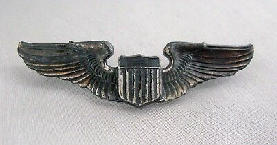"Vintage Sterling Silver U.S. Military WW2 PILOT Flight WING Pin 3"";G218"