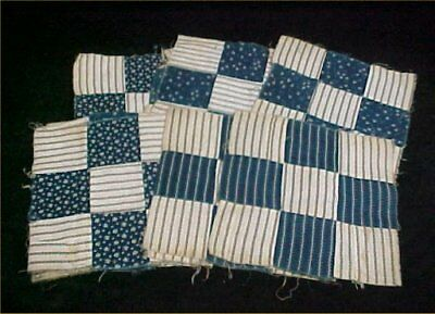 12 Vintage Antique Quilt Blocks Cotton Fabric Victorian Era Hand Pieced Blue
