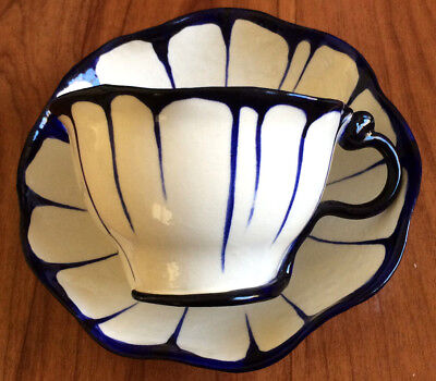 """Collectable Blue & White Cup and Saucer - """"M&M with Bird"""" MM - Relief in saucer"""