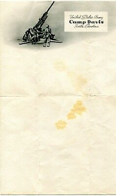 Ww 2 Unused Us Army Camp Davis Nc  Illustrated Letter Sheet 10 X 7 Inches