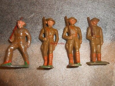 4 Different Vintage Barclay Soldiers With Rifles
