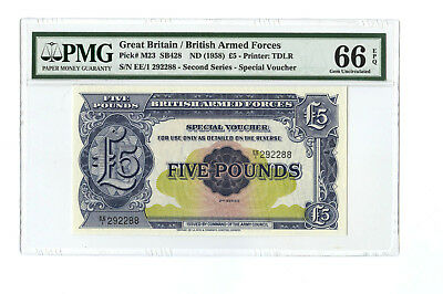 1958 5Pd Great Britain British Armed Forces Pmg 66 Pick# M23 Banknote Gem Unc