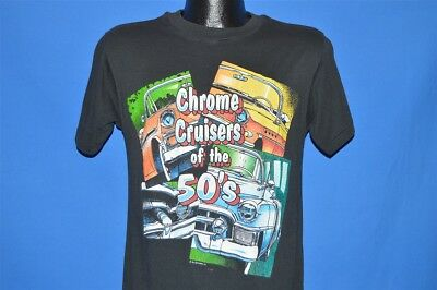 vintage 80s CHROME CRUISERS OF THE 50s 1950 HOT ROD BLACK t-shirt MEDIUM M