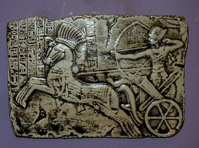 Ancient Egyptian Pharaoh King Ramses II on Chariot  Wall Plaque Sculpture
