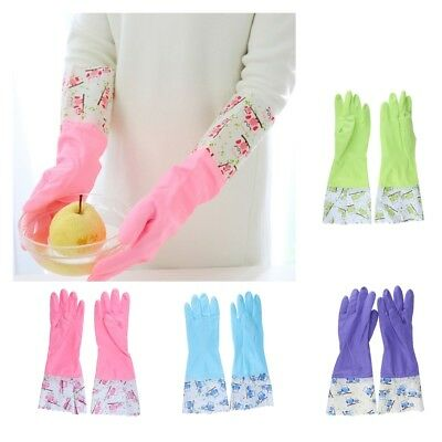 1 Pair Long Household Rubber Washing Up Cleaning Gloves Flock Lined Kitchen