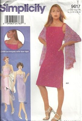 Simplicity 9617 Misses' Size 4-6-8-10 Dress, Shawl, Purse Sewing Pattern Oop