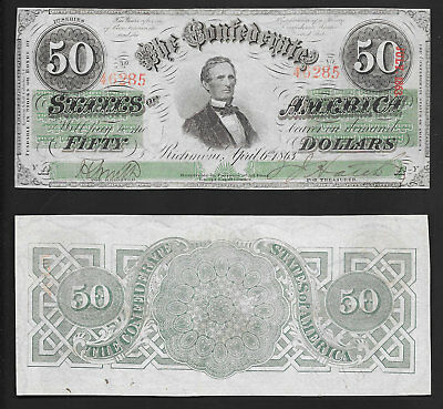 $50 1863 Confederate States Of America T-57 Very Choice Mid Grade
