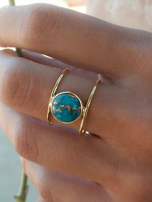 Antique 925 Sterling Silver Ladies Turquoise Round Ring GemStone Ideal Gift