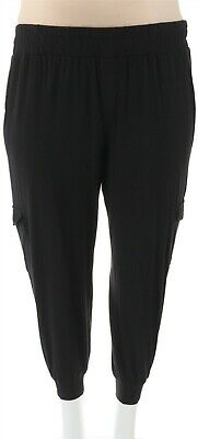AnyBody Loungewear Petite Cozy Knit Cargo Jogger Pants Black PS NEW A310165