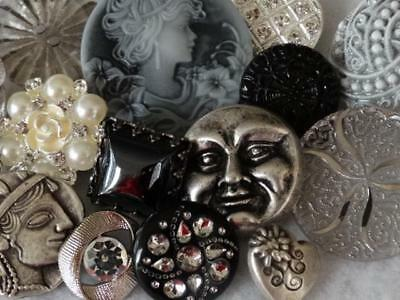 ANTIQUE VINTAGE & NEW BUTTONS Cameo Glass Silver Setting Rhinestone Moon Face +