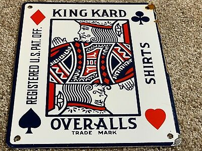 Vintage King Kard Overalls Porcelain Metal Card Shaped Advertising Old Sign