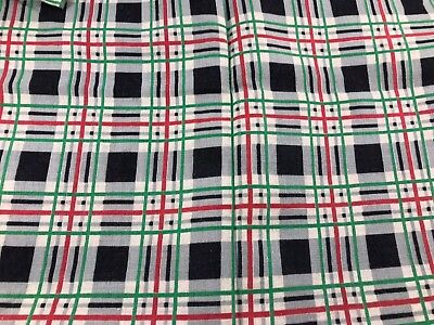 Vintage Black, White, Red And Green Plaid Feedsack/feed Sack (No Longer A Sack)
