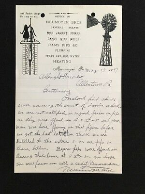 1897 Letterhead Neumoyer Bros Macungie Pa Red Jacket Pumps Illus Well, Windmill