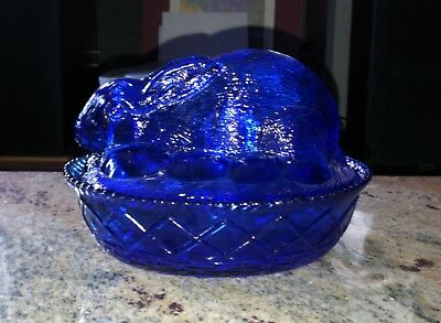 Vintage Cobalt Blue Glass Bunny in a Basket Covered Dish