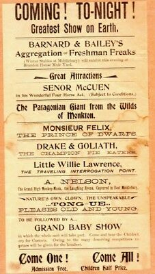 1880s Vermont Broadside for the Greatest Show On Earth w/ Great Attractions