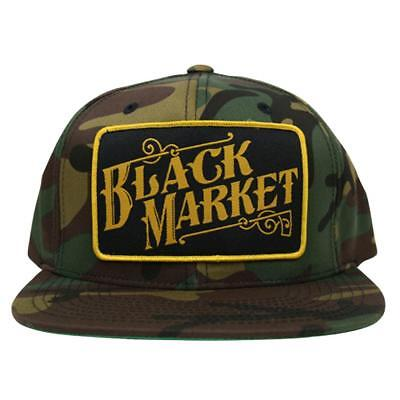 4c9a8bc8772b1 Black Market Art Camo Snap Back Trucker Hat Tattoo Art Black Baseball Cap