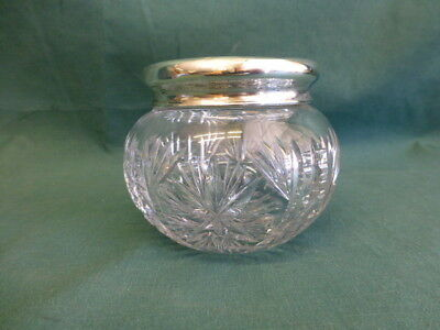 Antique Cut Glass and Sterling Silver Covered Dresser  or Powder Jar