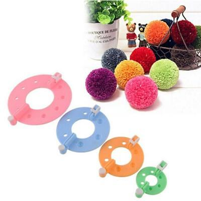 4 Size Set Pom Pom Maker Clover Fluff Ball Weaver Needle Craft Knitting Tool GR