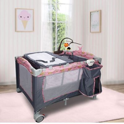 New Pink Foldable 2 Color Baby Crib Playpen Playard