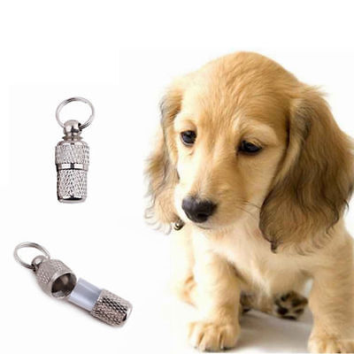 2x Anti-Lost Pet Dog Cat ID Stainless Steel Tag Name Address Barrel Tube Pip
