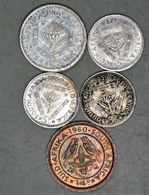 South Africa Pre-Decimal Lot of 5 Coins - 4 Are Silver