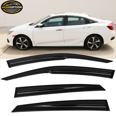 16-18 10th Honda Civic X 4Dr Sedan Mugen 3D Wavy MUG Style Smoke Window Visor
