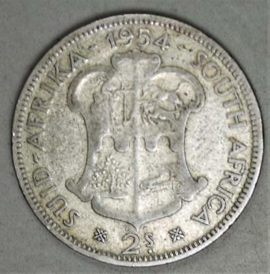 South Africa 1954 2 Shillings Silver Coin