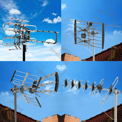 HDTV Outdoor Amplified Antenna HD TV  Rotor Remote 360° UHF/VHF/FM US