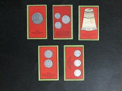 Cigarette Card Lot Of 5 Sniders 1907-1912 Coin Tricks #2,4,6,9,11