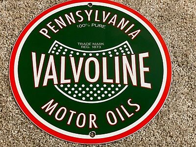 "Vintage Valvoline Motor Oils 9"" Porcelain Metal Pump Plate Gas Station Sign"