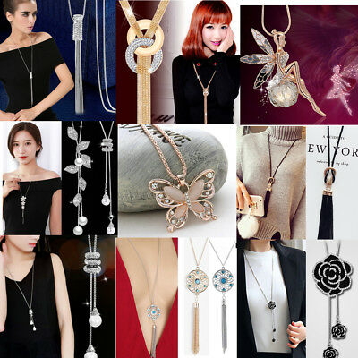 Fashion Women's Tassel Crystal Pendant Long Chain Sweater Necklace Jewelry Gifts