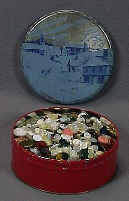 Lot Of Assorted VINTAGE / ANTIQUE BUTTONS Stored In Old Candy Tin (2 Lb, 7 Oz)