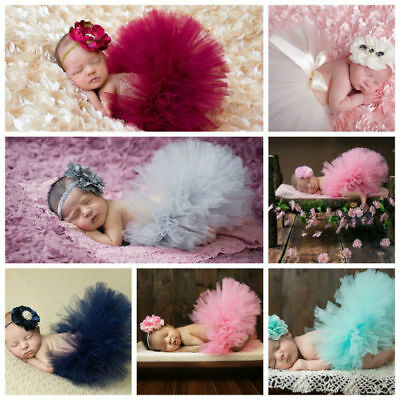 Newborn Baby Flower Photo Tutu Clothes Skirt Headdress Photography Prop Outfit